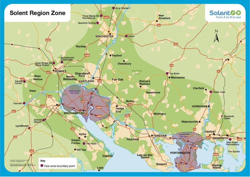 Solent region zone map